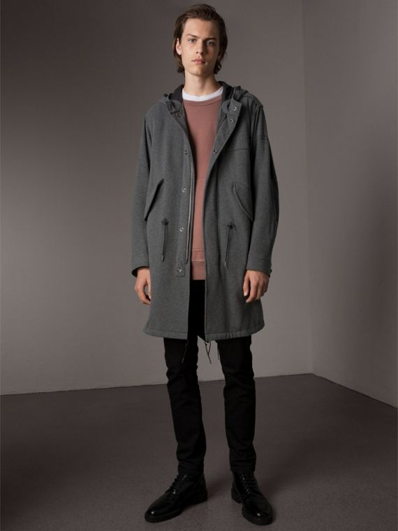 Lightweight Jersey Parka in Dark Grey Melange