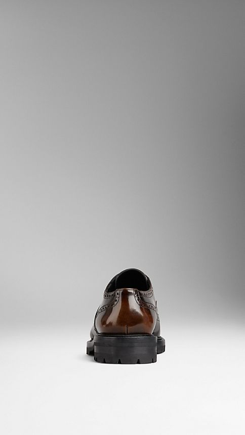 Bitter chocolate Leather Wingtip Brogues With Rubber Sole - Image 2