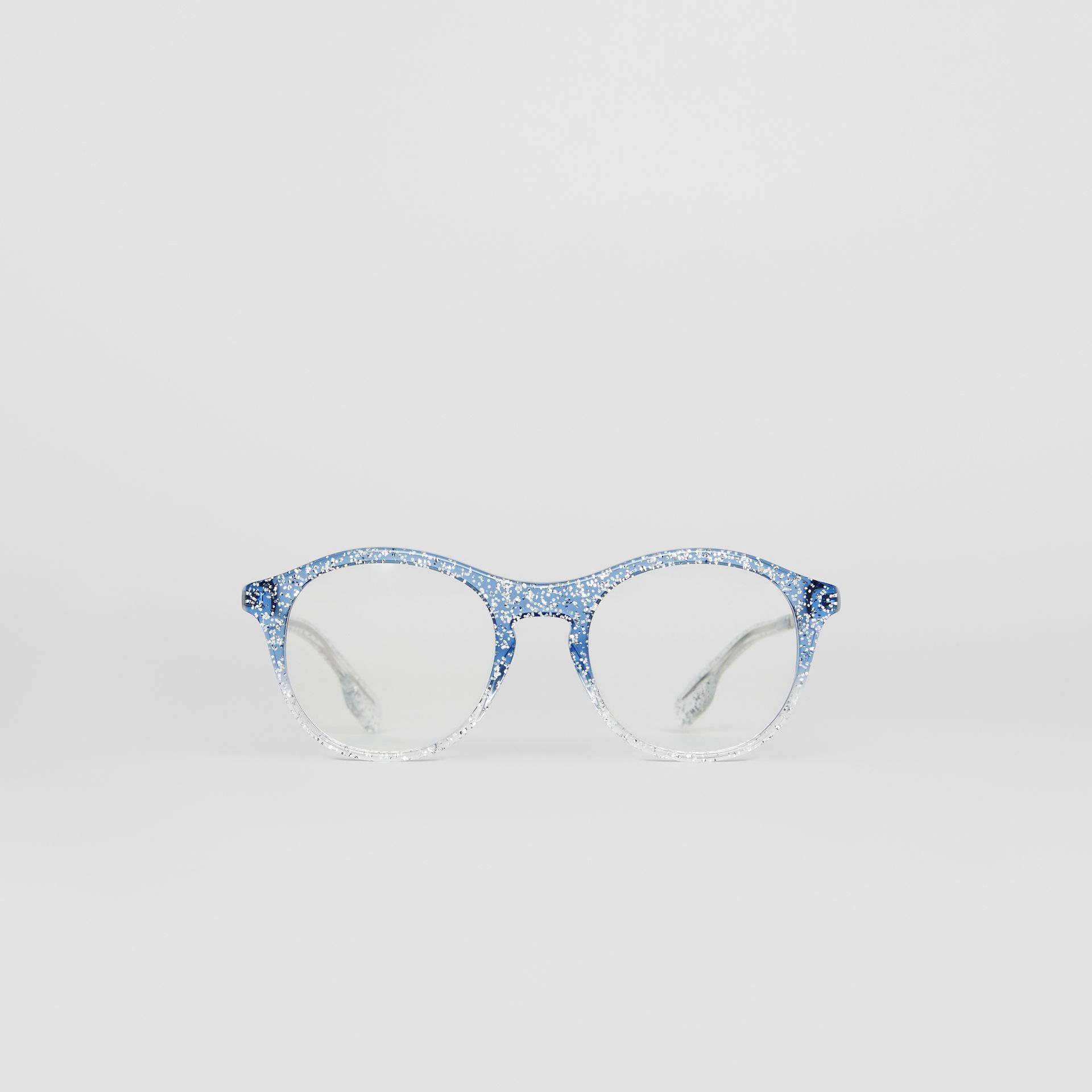 Glitter Detail Round Optical Frames in Blue - Women | Burberry - gallery image 0