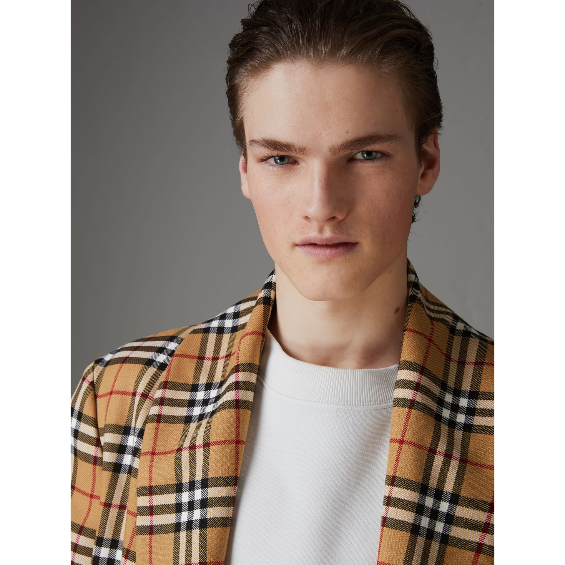 Reissued Vintage Check Dressing Gown Coat in Antique Yellow - Men | Burberry Australia - gallery image 4