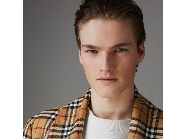 Reissued Vintage Check Dressing Gown Coat in Antique Yellow - Men | Burberry Hong Kong - cell image 4