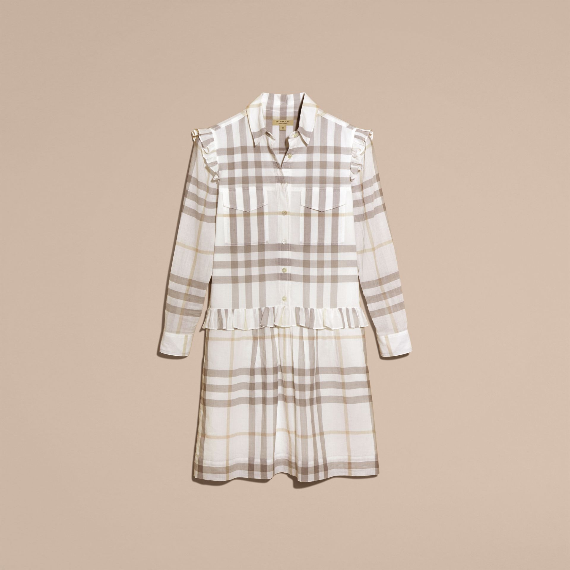 Ruffle Detail Cotton Check Shirt Dress in Natural White - gallery image 4