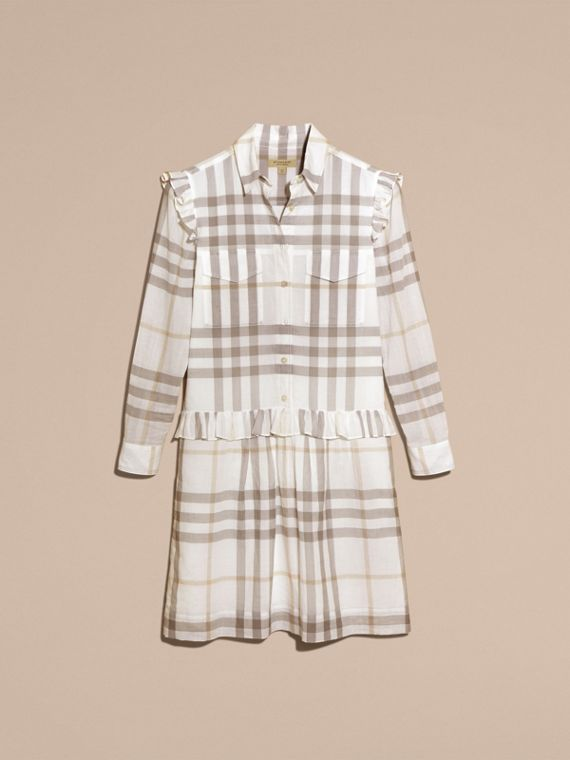 Ruffle Detail Cotton Check Shirt Dress in Natural White - cell image 3