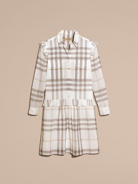 Ruffle Detail Cotton Check Shirt Dress Natural White - cell image 3