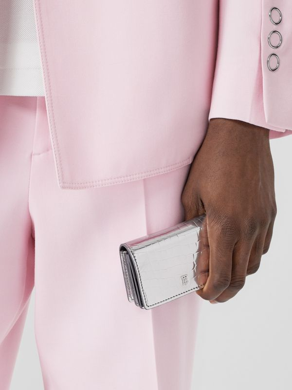Metallic Embossed Card Case with Detachable Strap in Silver | Burberry United Kingdom - cell image 3