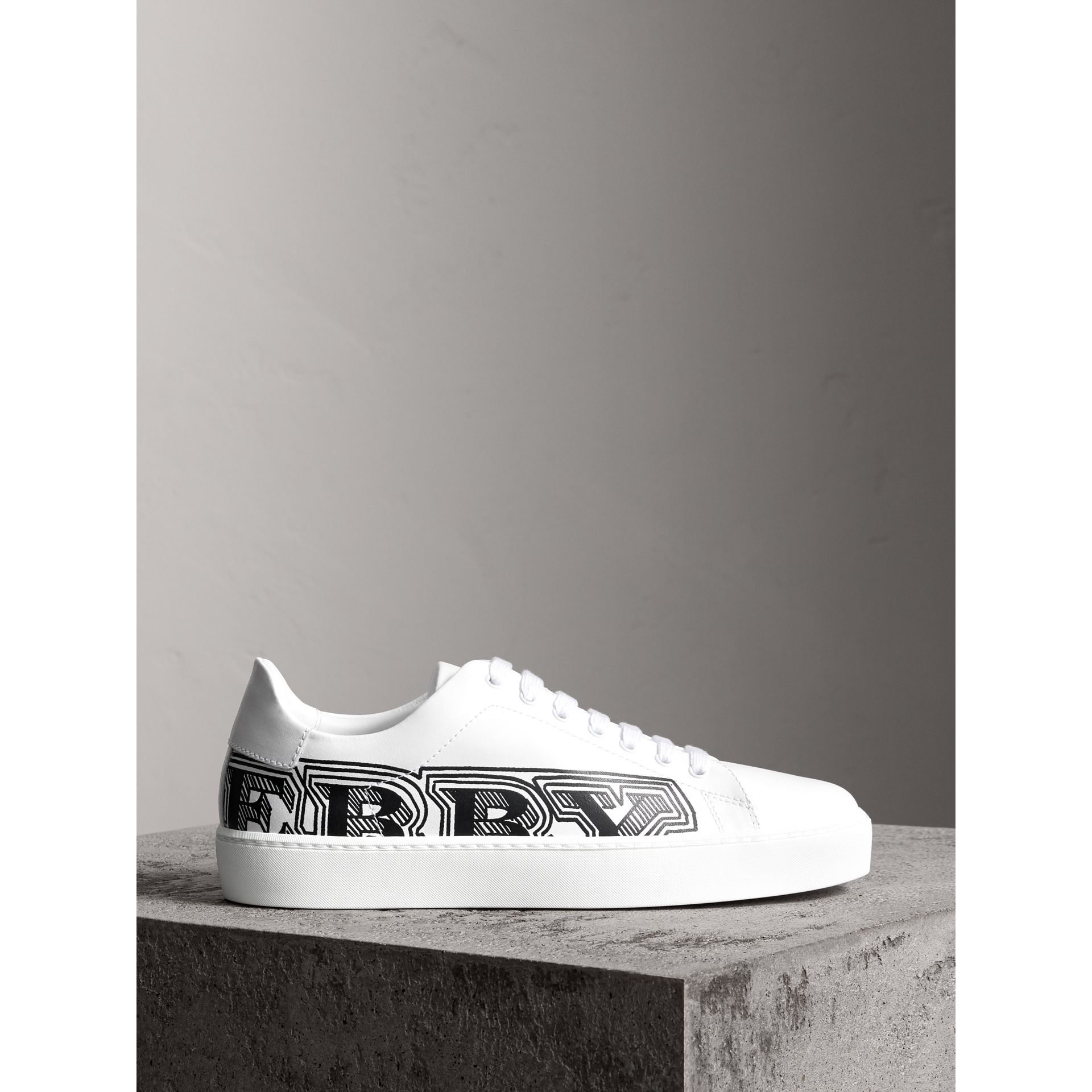 Doodle Print Leather Sneakers in Optic White - Women | Burberry - gallery image 4