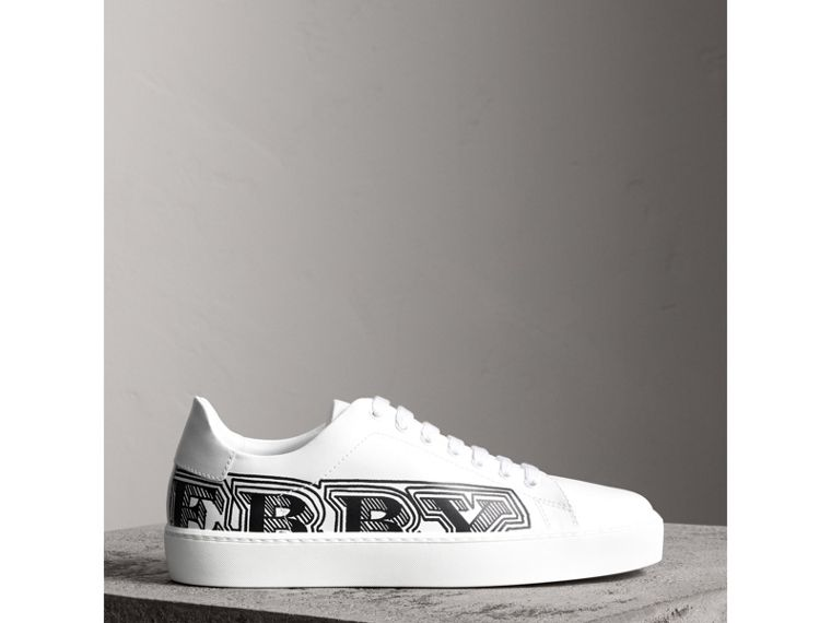 Doodle Print Leather Sneakers in Optic White - Women | Burberry Canada - cell image 4