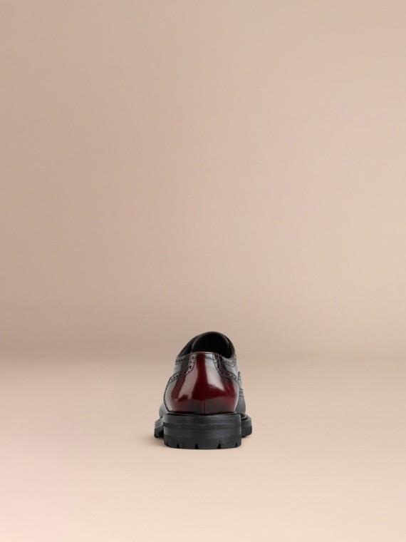 Бордо Кожаные броги с резиновой подошвой и W-образной деталью Бордо - cell image 3