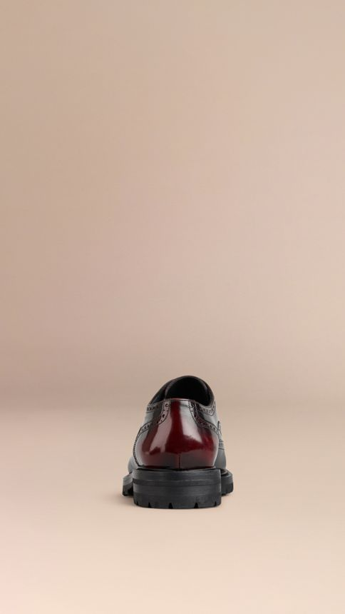 Bordeaux Leather Wingtip Brogues With Rubber Sole Bordeaux - Image 4