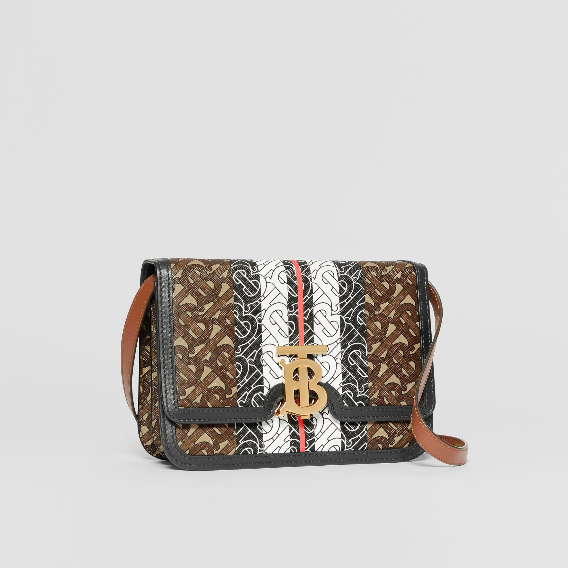 Small Monogram Stripe E-canvas TB Bag in Bridle Brown - Women | Burberry United Kingdom - gallery image 6