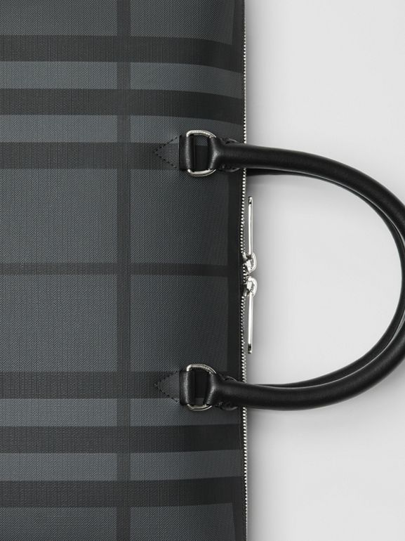 Large London Check Briefcase in Charcoal/black - Men | Burberry - cell image 1