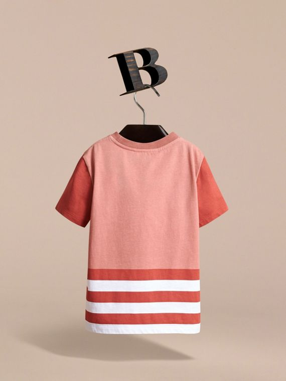 Bearded Gent Print Striped Cotton T-shirt in Pale Cinnamon - Boy | Burberry - cell image 3