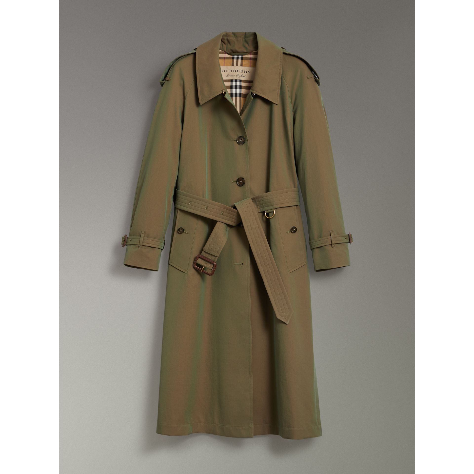 Side-slit Tropical Gabardine Trench Coat in Bright Olive - Women | Burberry Canada - gallery image 3