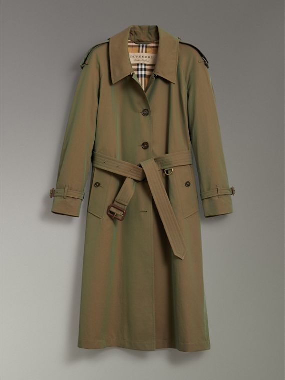 Side-slit Tropical Gabardine Trench Coat in Bright Olive - Women | Burberry - cell image 3