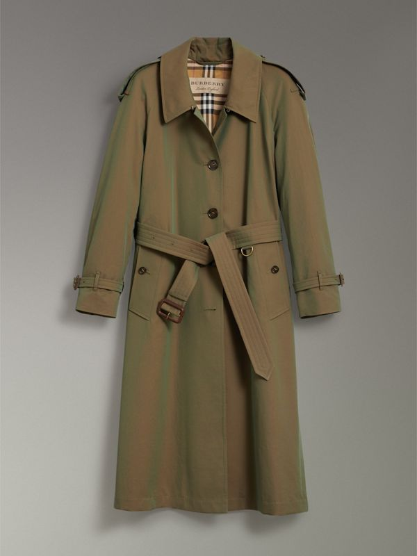 Side-slit Tropical Gabardine Trench Coat in Bright Olive - Women | Burberry Canada - cell image 3