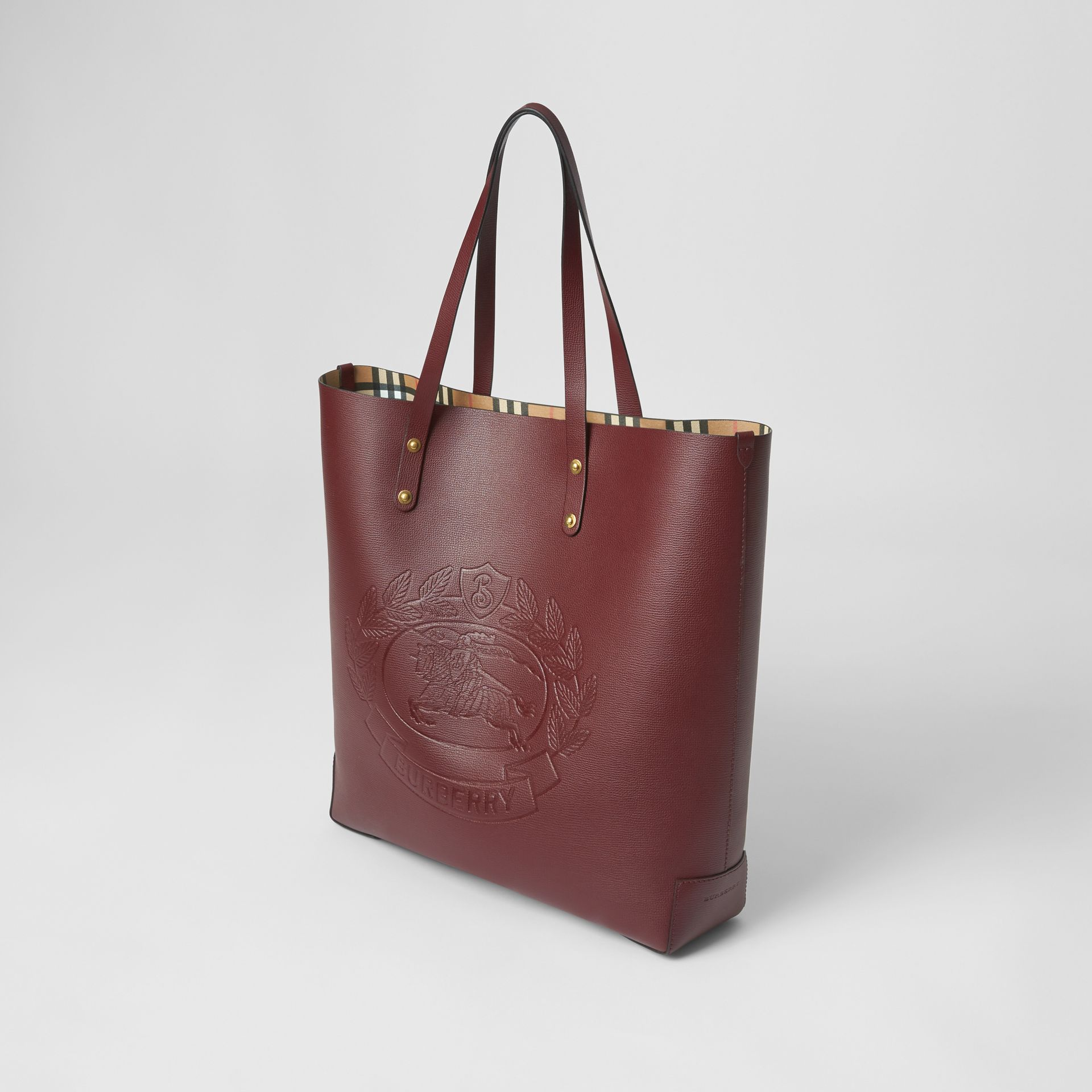 Large Embossed Crest Leather Tote in Burgundy | Burberry Australia - gallery image 4
