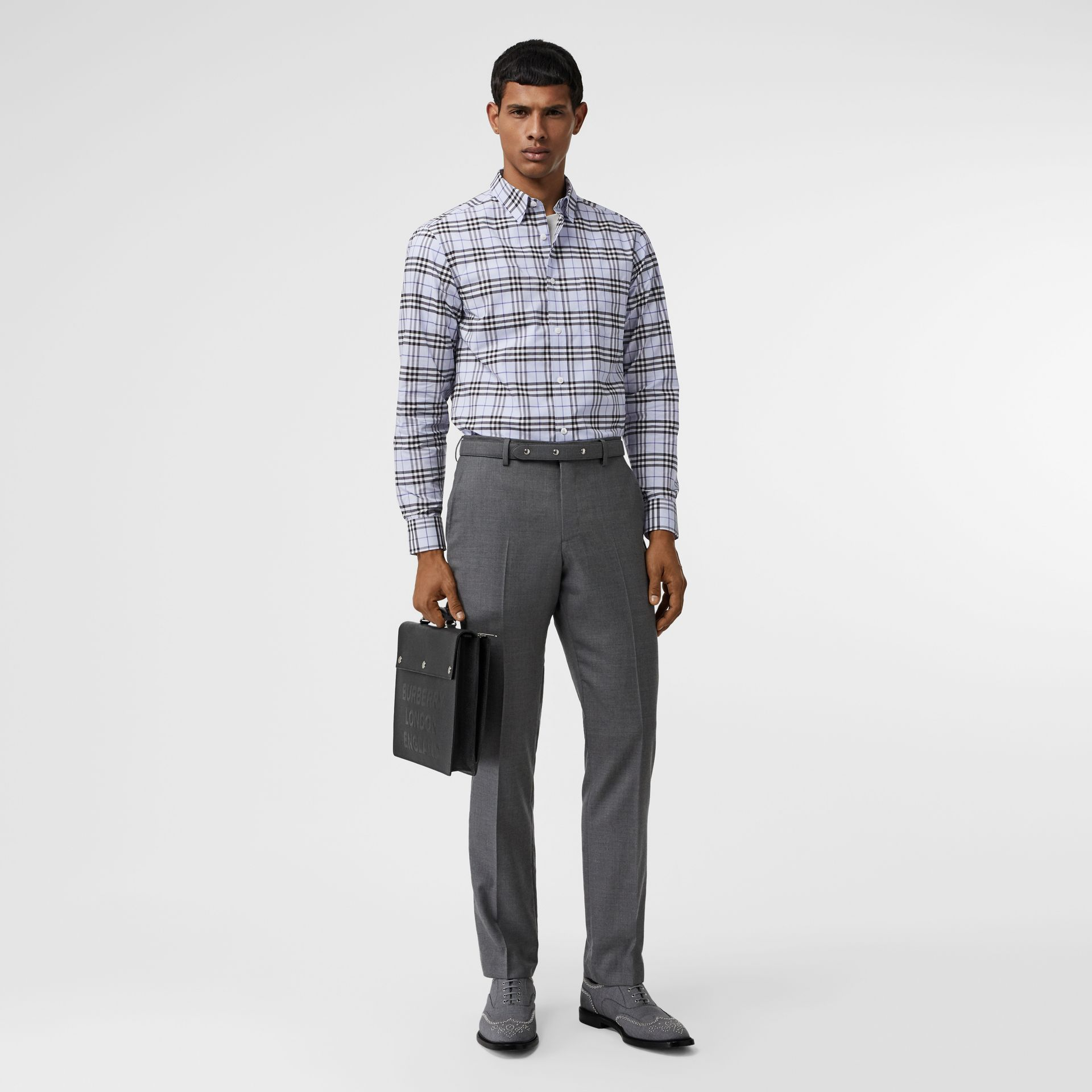 Check Stretch Cotton Shirt in Sky Blue - Men | Burberry - gallery image 0
