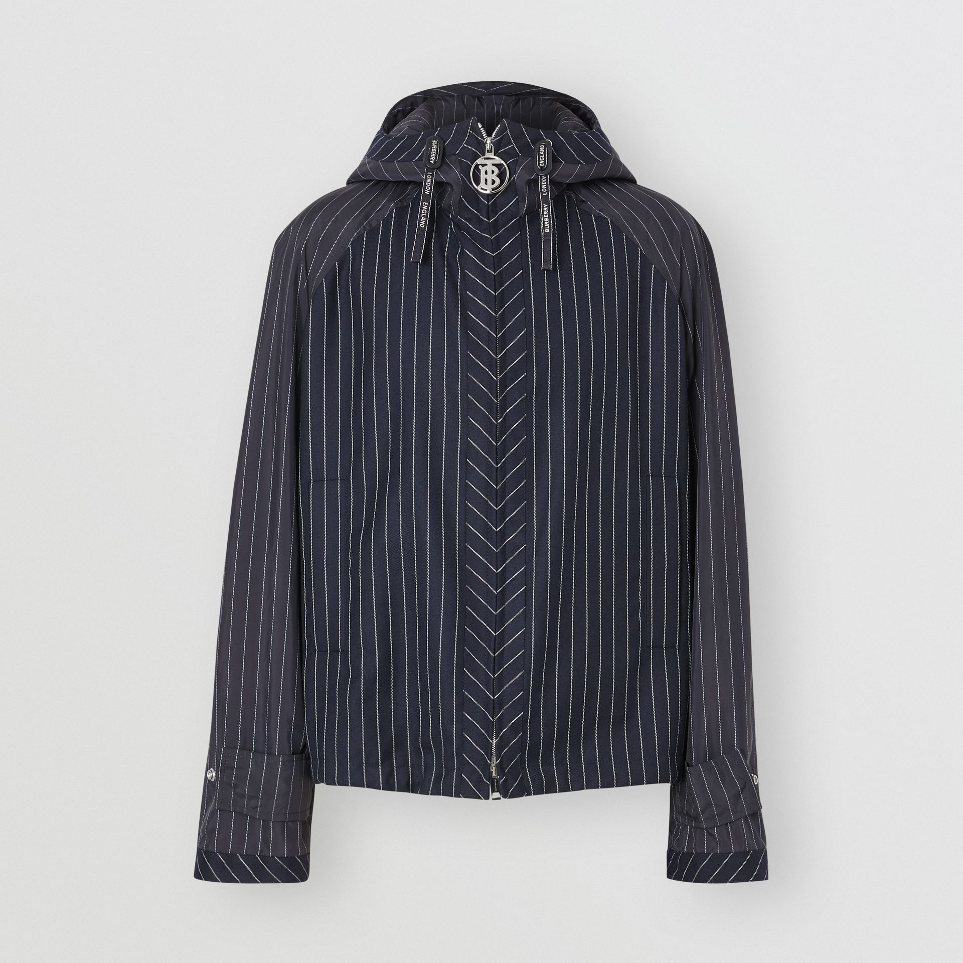 Pinstriped Wool Hooded Jacket in Dark Navy/white | Burberry Australia - gallery image 3