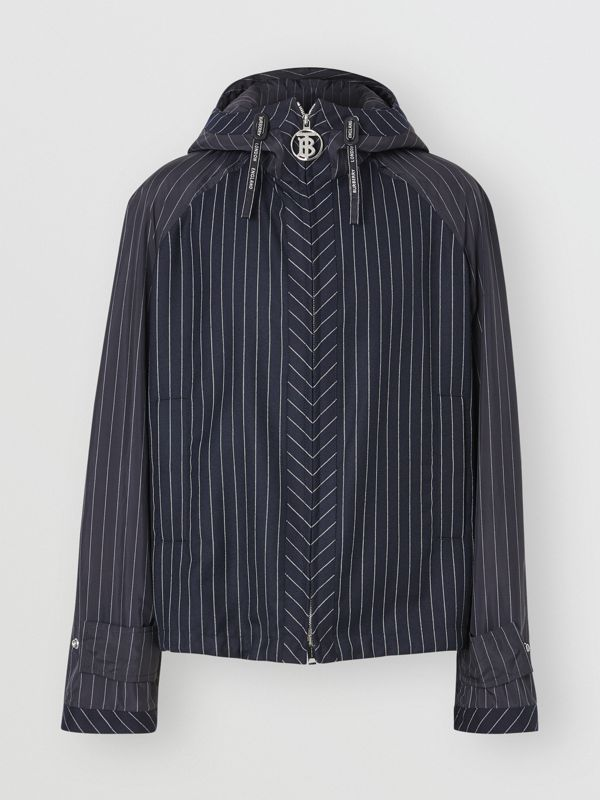 Pinstriped Wool Hooded Jacket in Dark Navy/white | Burberry - cell image 3