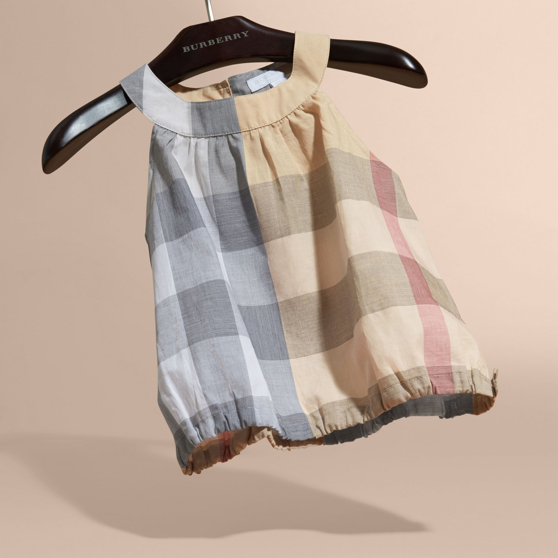 Gathered Check Cotton Top in Pale Stone - Girl | Burberry - gallery image 3