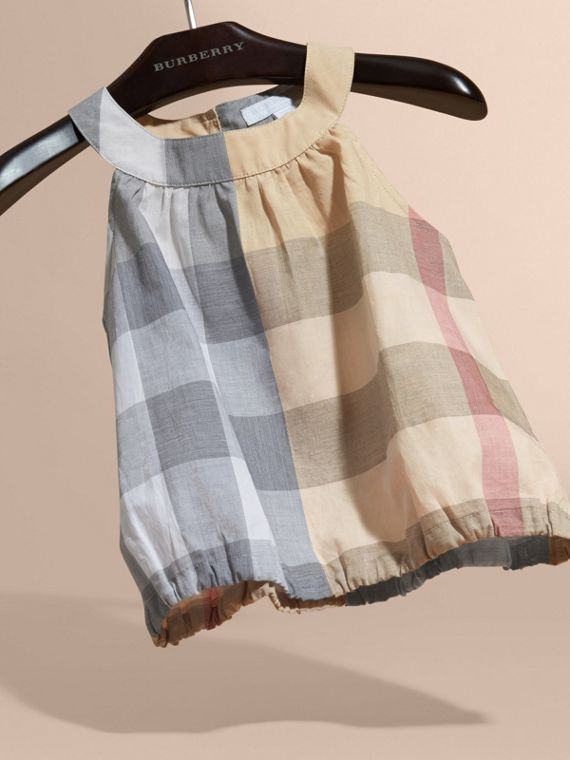 Gathered Check Cotton Top in Pale Stone - Girl | Burberry - cell image 2