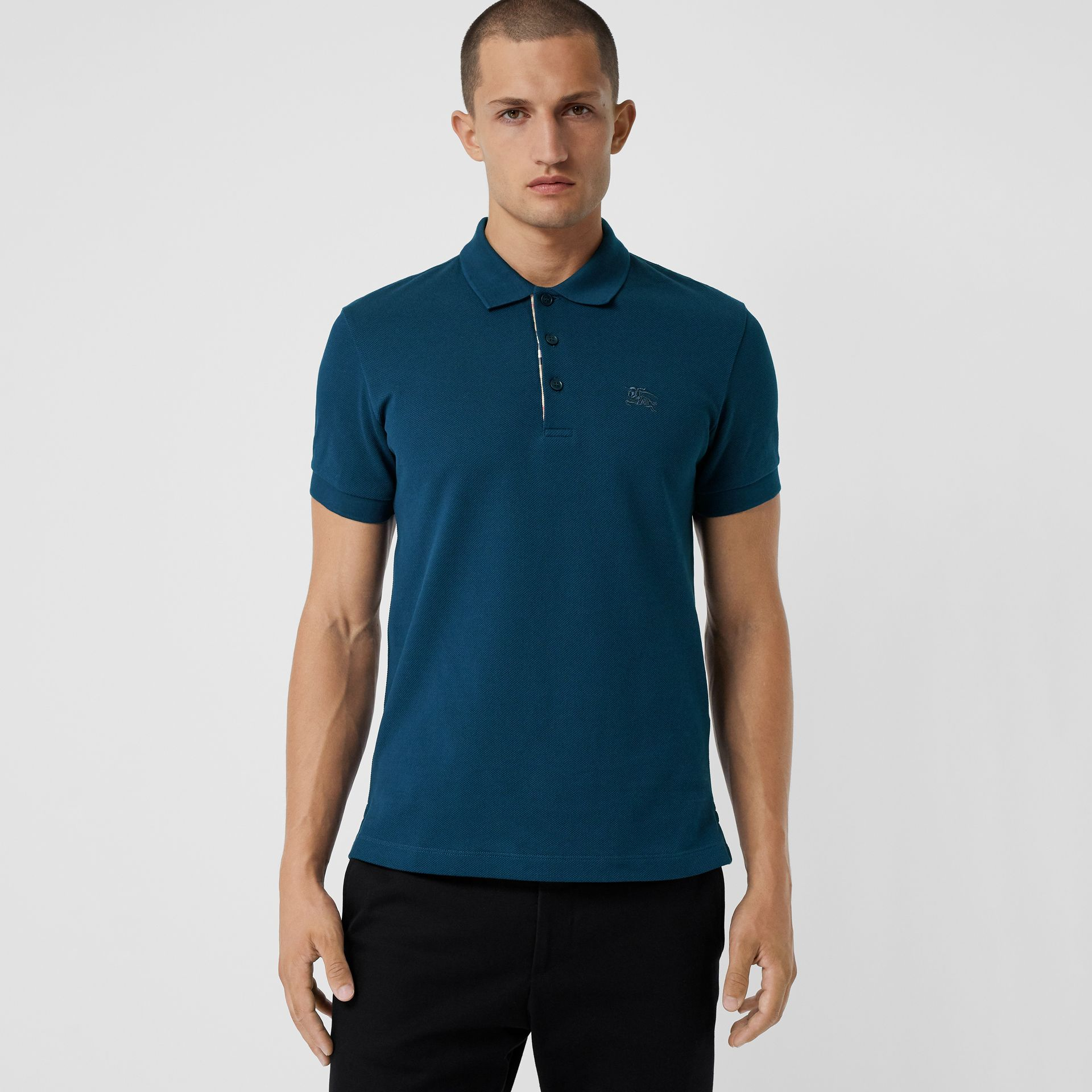 Check Placket Cotton Piqué Polo Shirt in Deep Teal Blue - Men | Burberry United Kingdom - gallery image 0