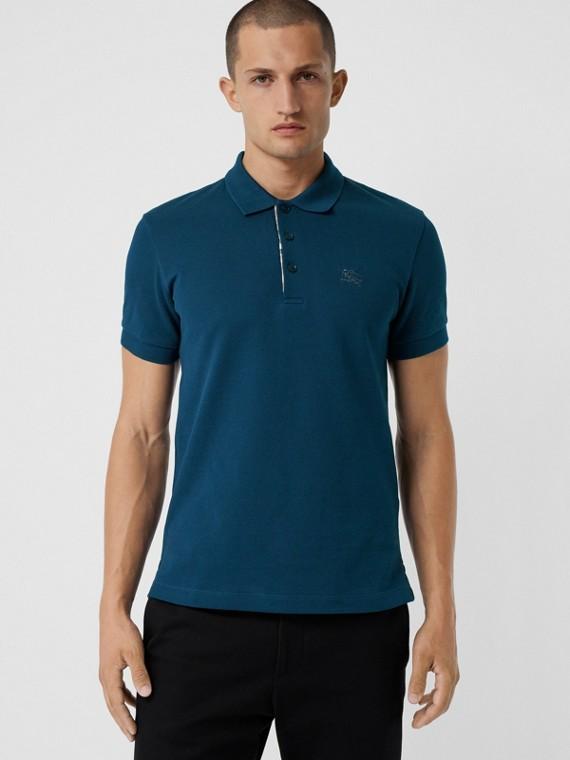 Camisa polo de algodão com tira de botões xadrez (Azul Petróleo Escuro)