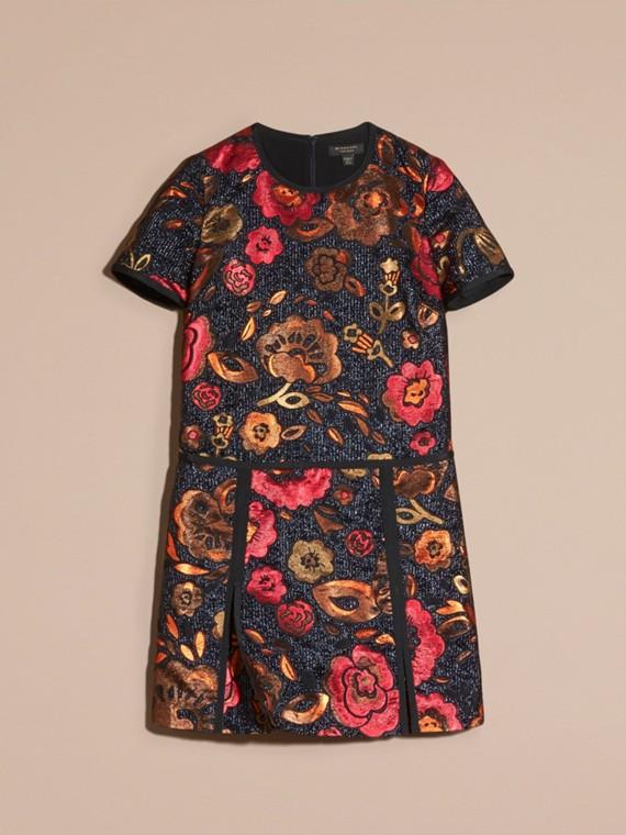 Navy Floral Jacquard T-shirt Dress - cell image 3