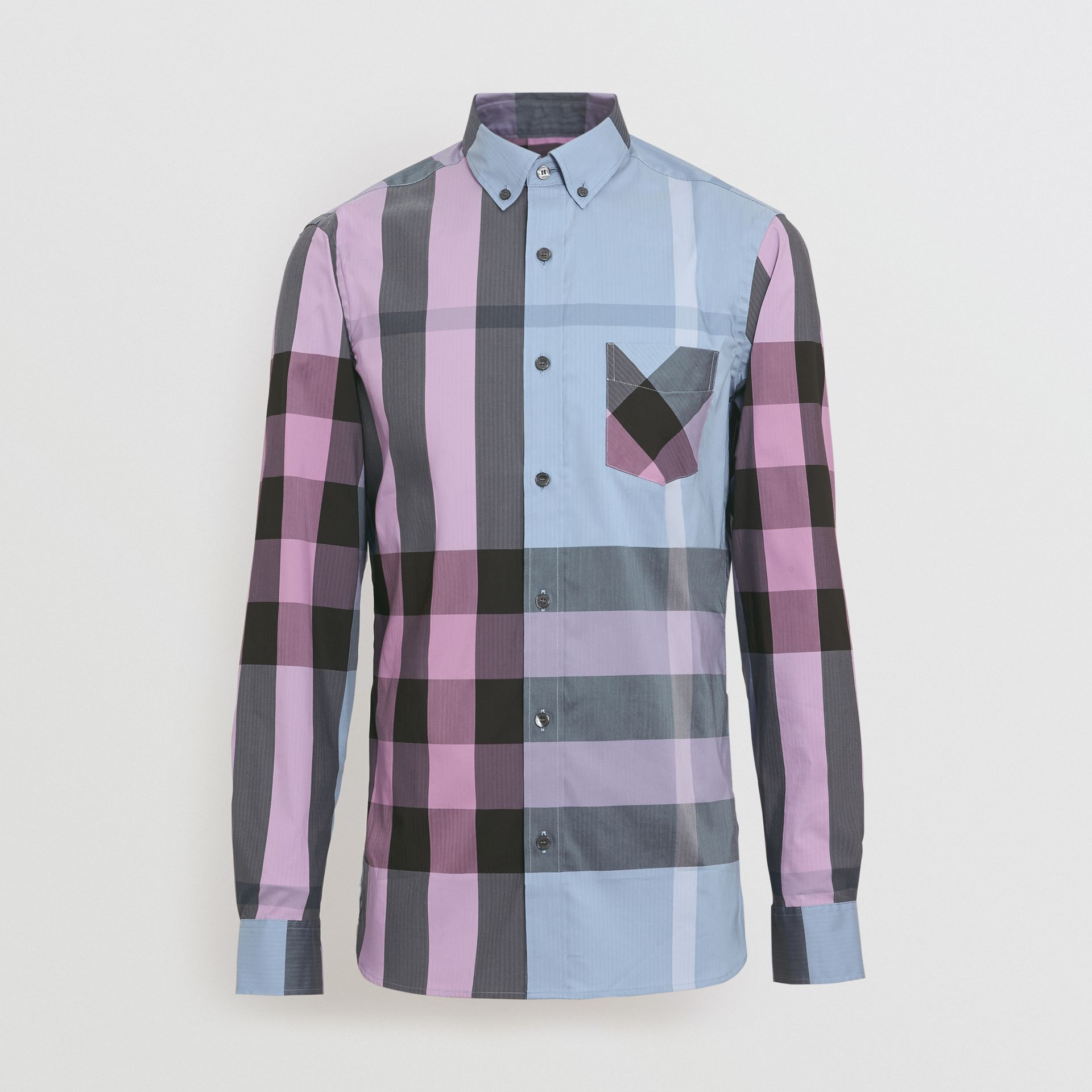 Button-down Collar Check Stretch Cotton Blend Shirt in Chalk Blue - Men | Burberry United States - gallery image 3