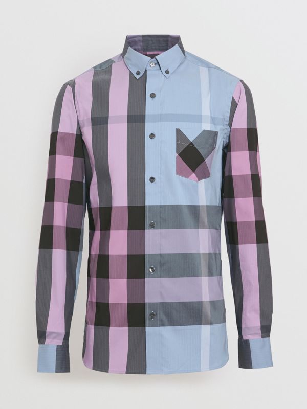Button-down Collar Check Stretch Cotton Blend Shirt in Chalk Blue - Men | Burberry United States - cell image 3