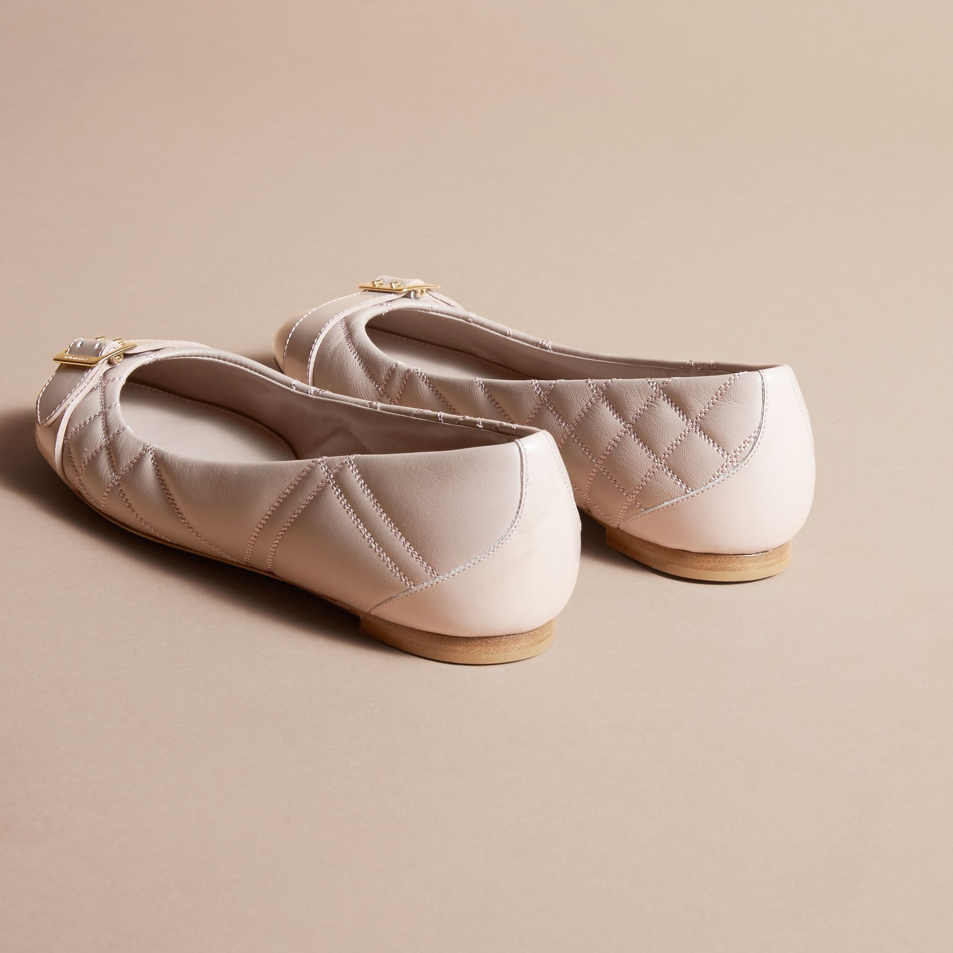 Buckle Detail Quilted Lambskin Leather Ballerinas in Ivory Pink - Women | Burberry - gallery image 4