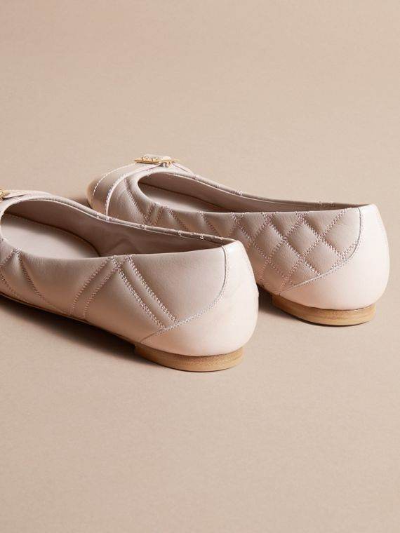 Buckle Detail Quilted Lambskin Leather Ballerinas in Ivory Pink - Women | Burberry - cell image 3