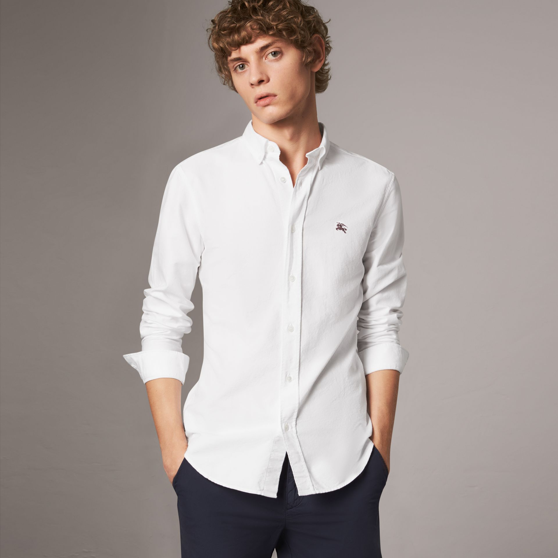 Cotton Oxford Shirt in White - Men | Burberry Canada - gallery image 0