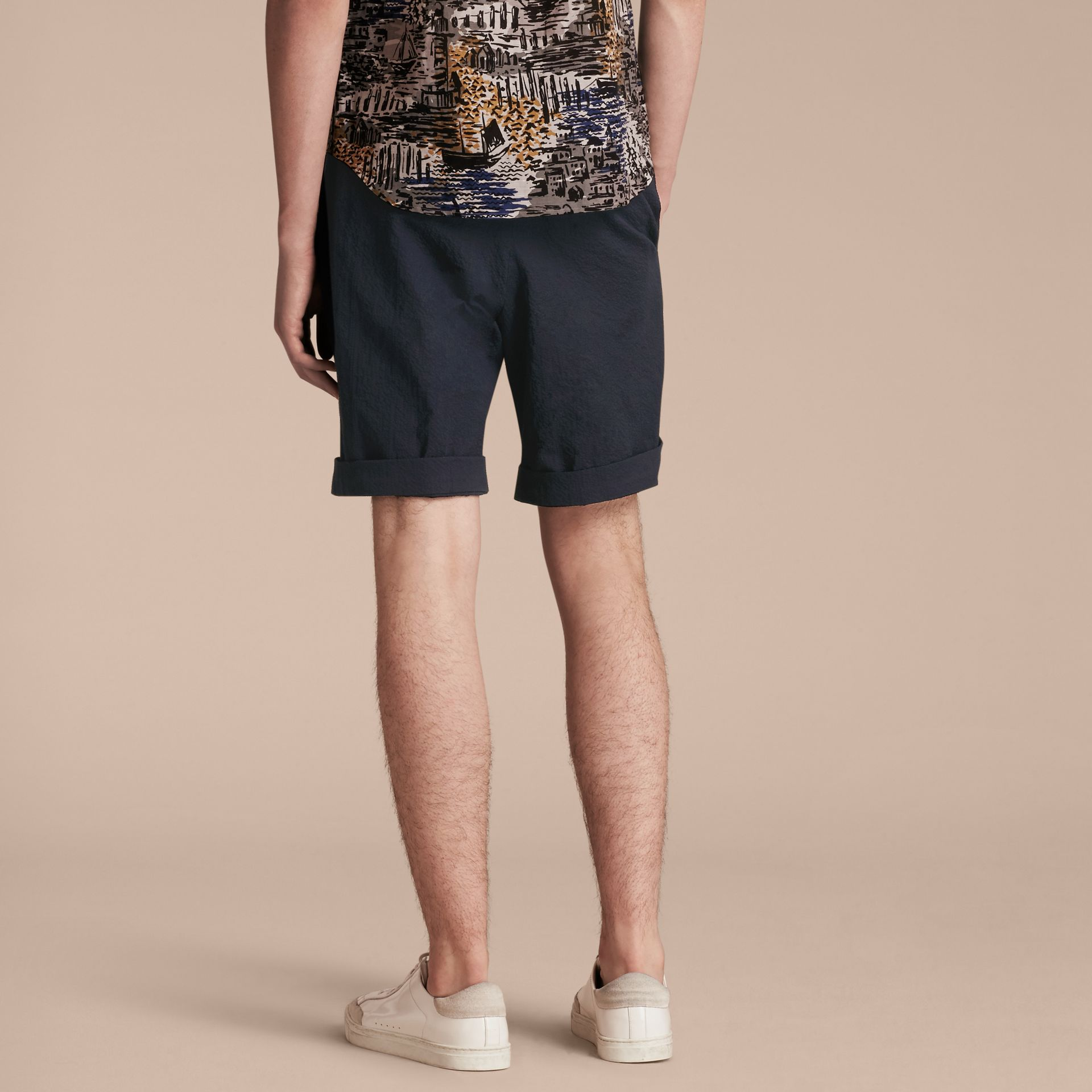 Tailored Stretch Cotton Shorts Navy - gallery image 3