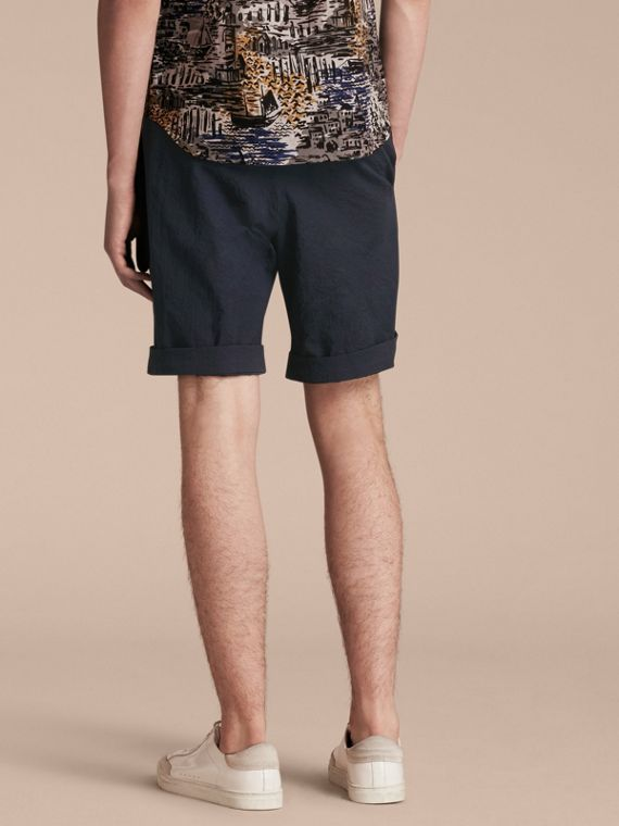 Tailored Stretch Cotton Shorts Navy - cell image 2