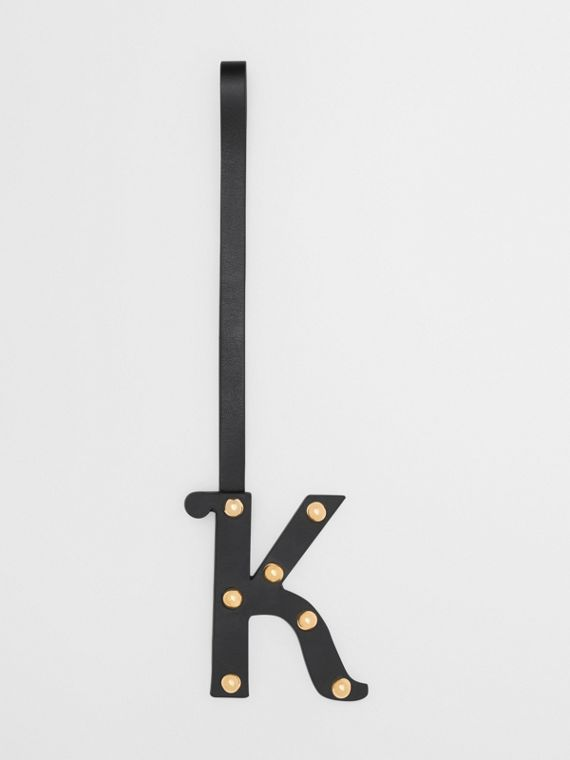 'K' Studded Leather Alphabet Charm in Black/light Gold