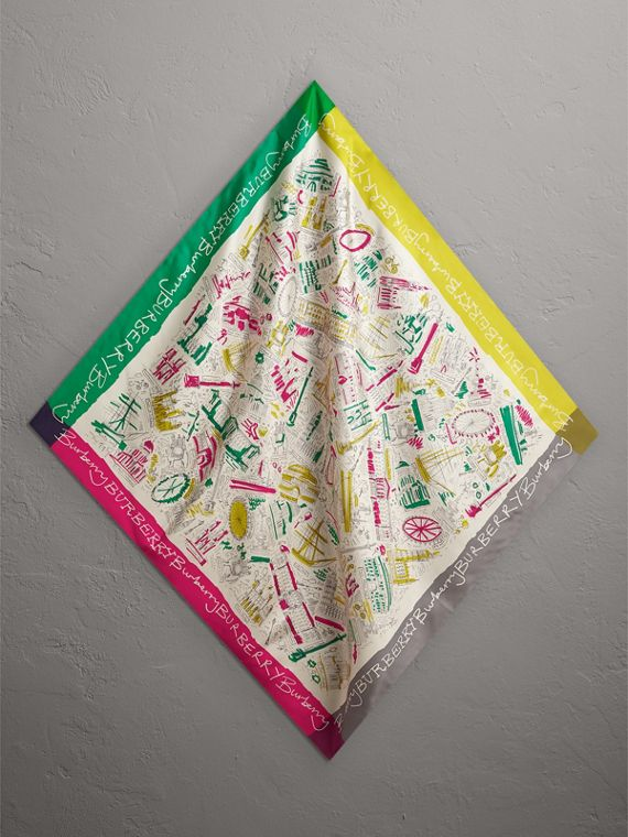 London Print Silk Square Scarf in Bright Peony