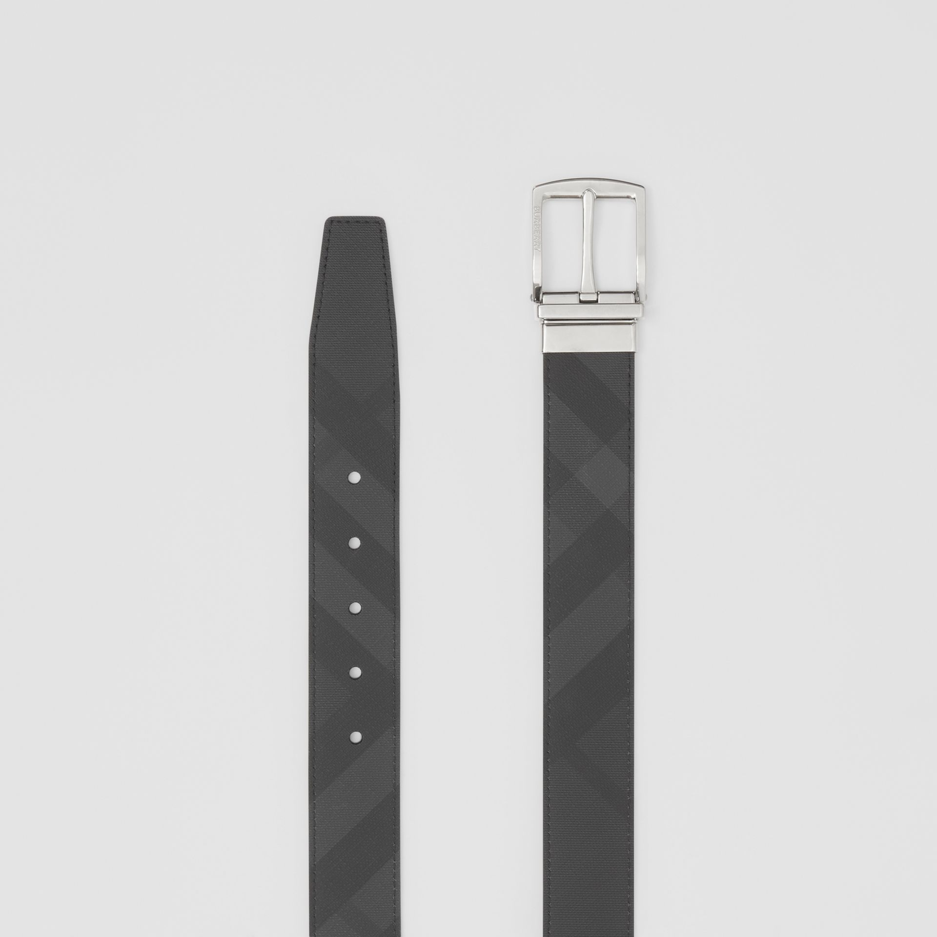 Reversible London Check and Leather Belt in Dark Charcoal/black - Men | Burberry - gallery image 5