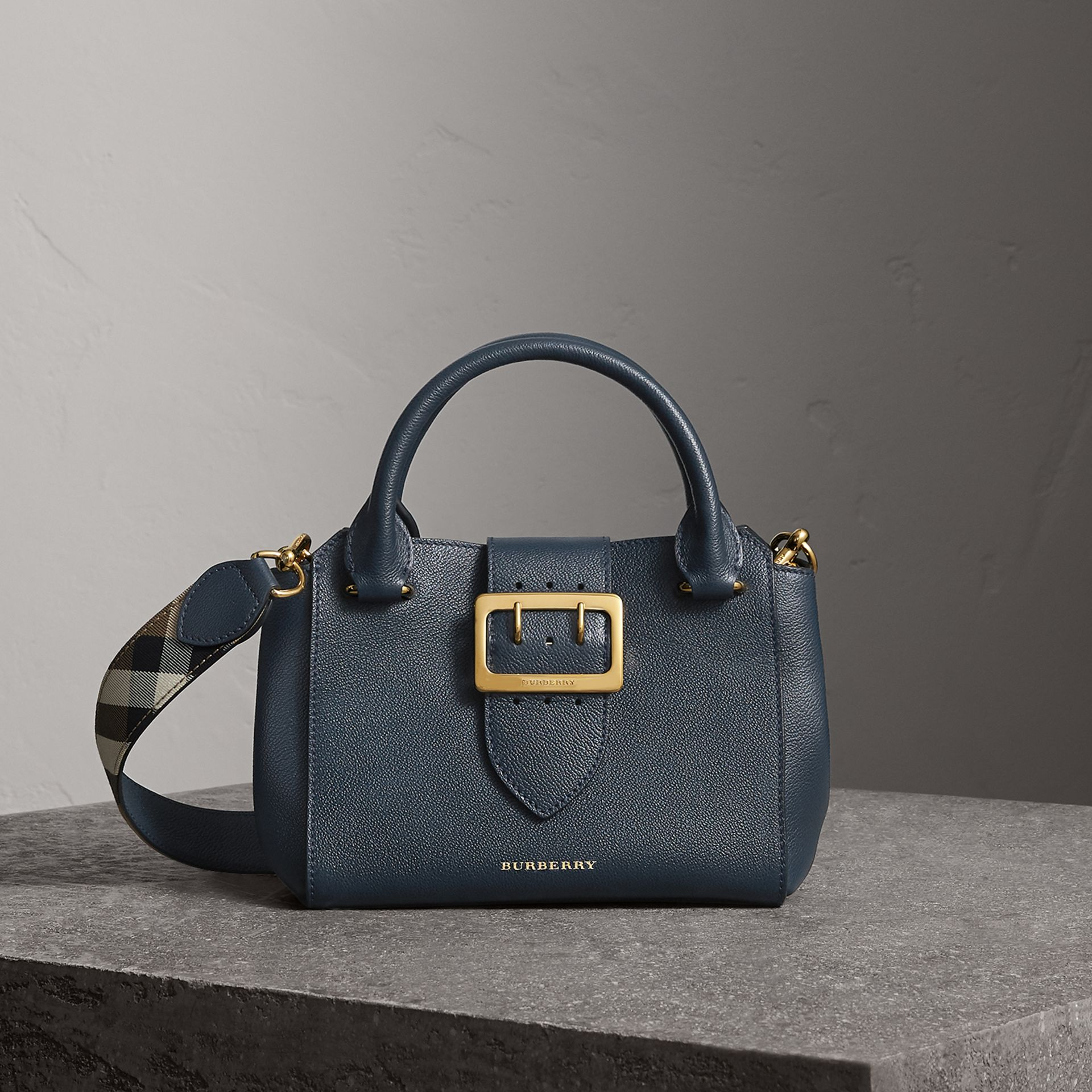 The Small Buckle Tote in Grainy Leather in Blue Carbon - Women | Burberry - gallery image 0