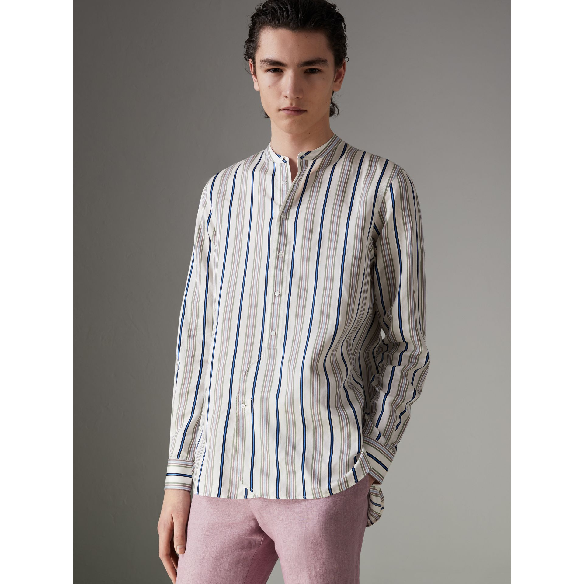 Grandad Collar Striped Silk Shirt in Off White - Men | Burberry - gallery image 0