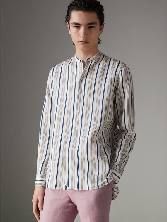 Grandad Collar Striped Silk Shirt in Off White