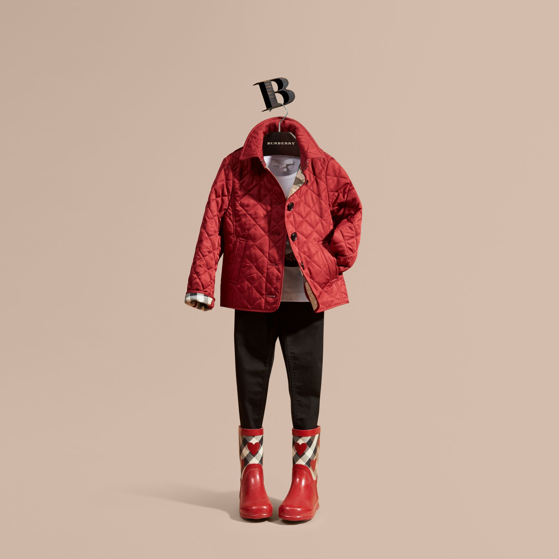 Check Lined Diamond Quilted Jacket in Parade Red - Girl | Burberry - gallery image 1