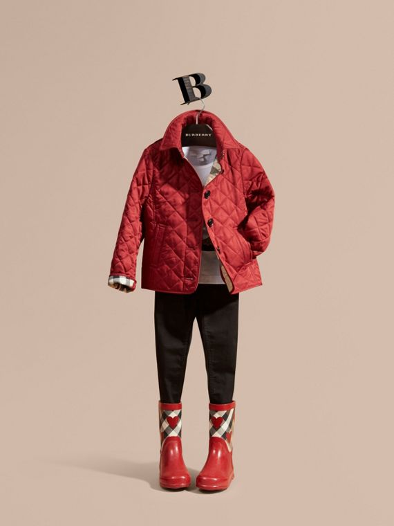Check Lined Diamond Quilted Jacket in Parade Red