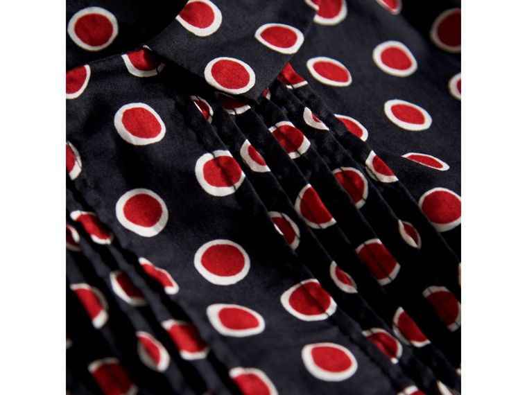 Pintuck Detail Spot Print Cotton Dress in Parade Red | Burberry Australia - cell image 1
