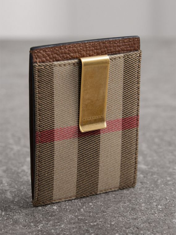 House Check and Leather Money Clip Card Case in Chestnut Brown - Men | Burberry United States - cell image 2