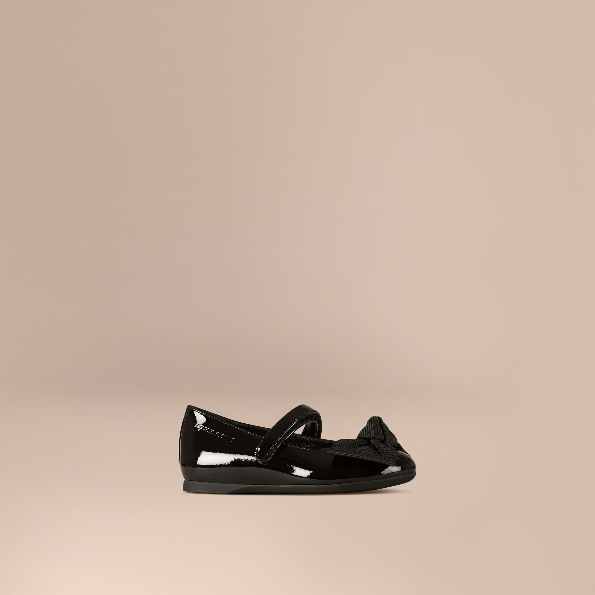 Bow Detail Leather Ballerinas in Black - Girl | Burberry - gallery image 0
