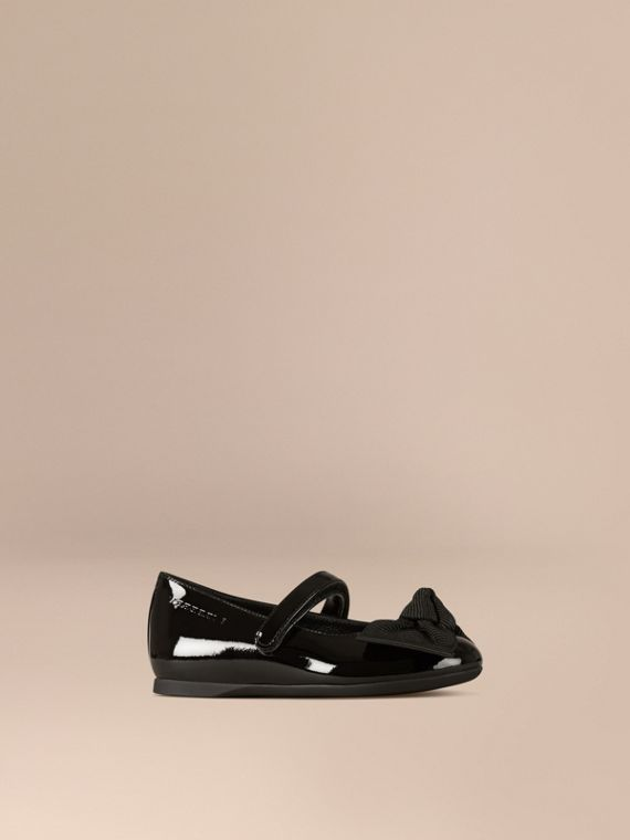 Bow Detail Leather Ballerinas in Black