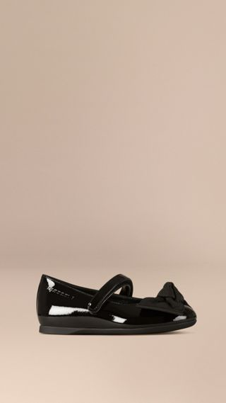 Bow Detail Leather Ballerinas