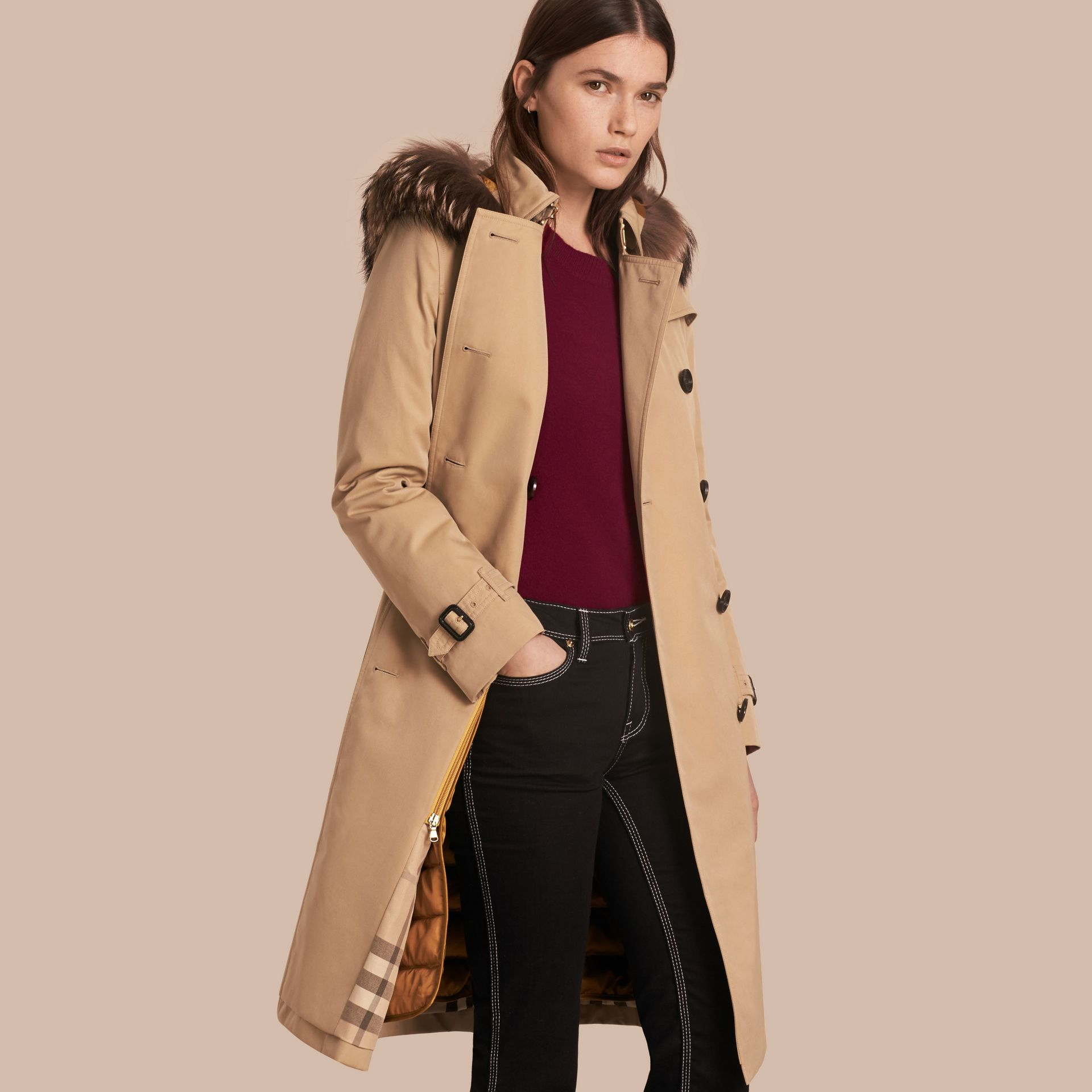 Fur-trimmed Hood Trench Coat with Detachable Warmer in Honey - gallery image 1