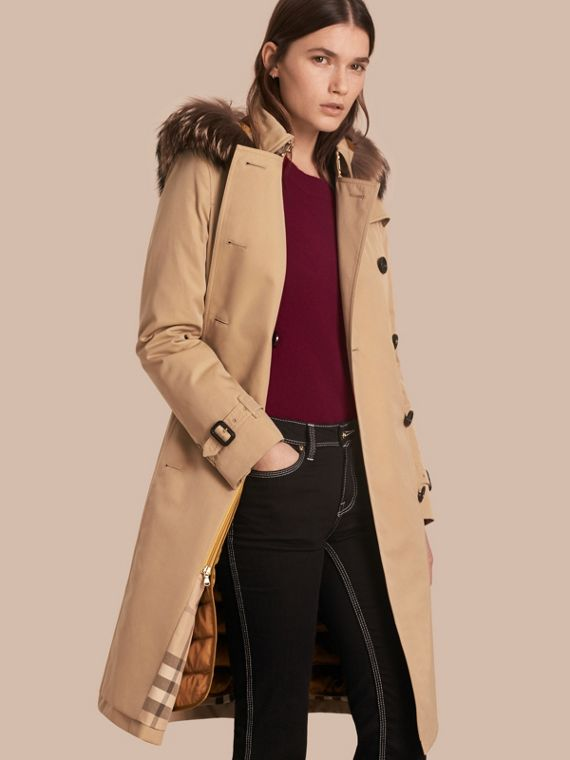 Fur-trimmed Hood Trench Coat with Detachable Warmer Honey